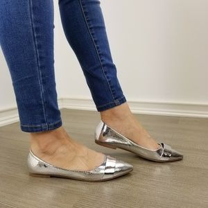 Shoes - Silver Metallic Pointy Toe Slip On Flats -U